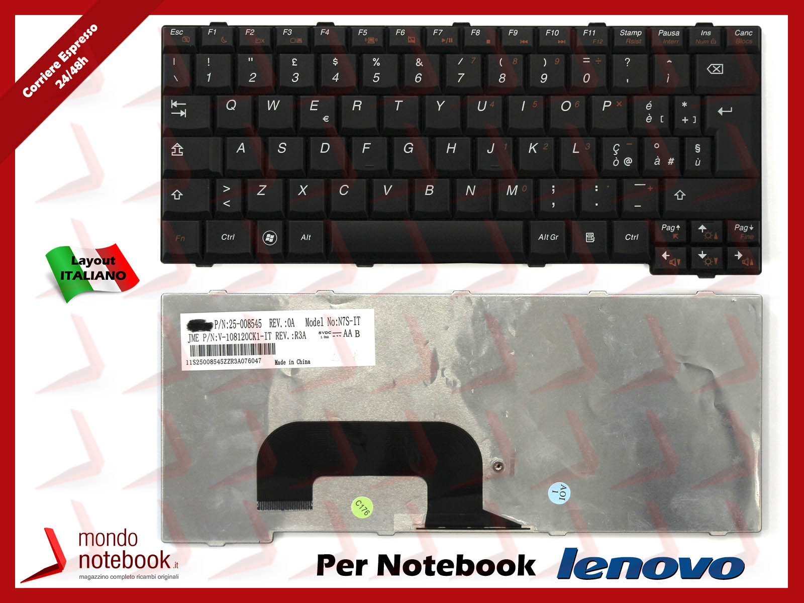 Tastiera-Notebook-Lenovo-IdeaPad-S12-Nera-ITALIANA-V-108120AK1-IT-25-008545