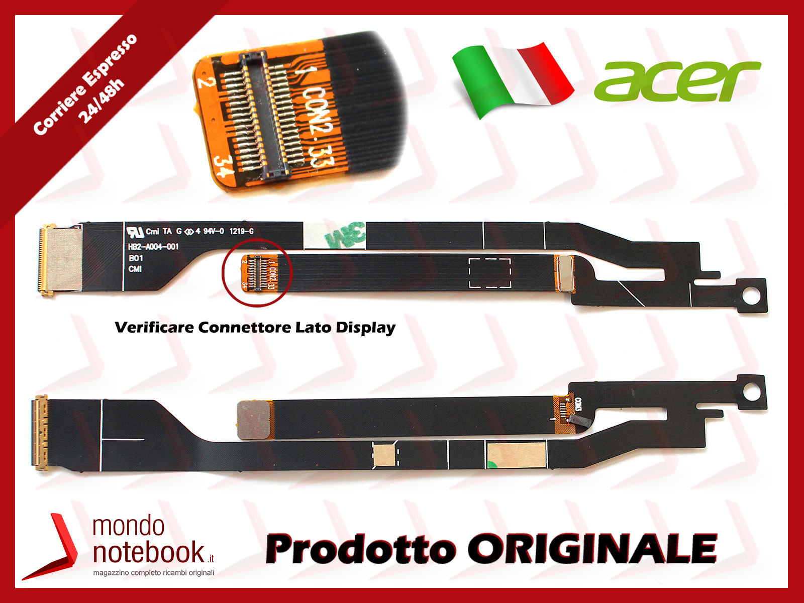 Cavo Flat LCD ACER Aspire S3 Series Aspire S3-391 S3-951 HB2-A004-001 (Versione 2)