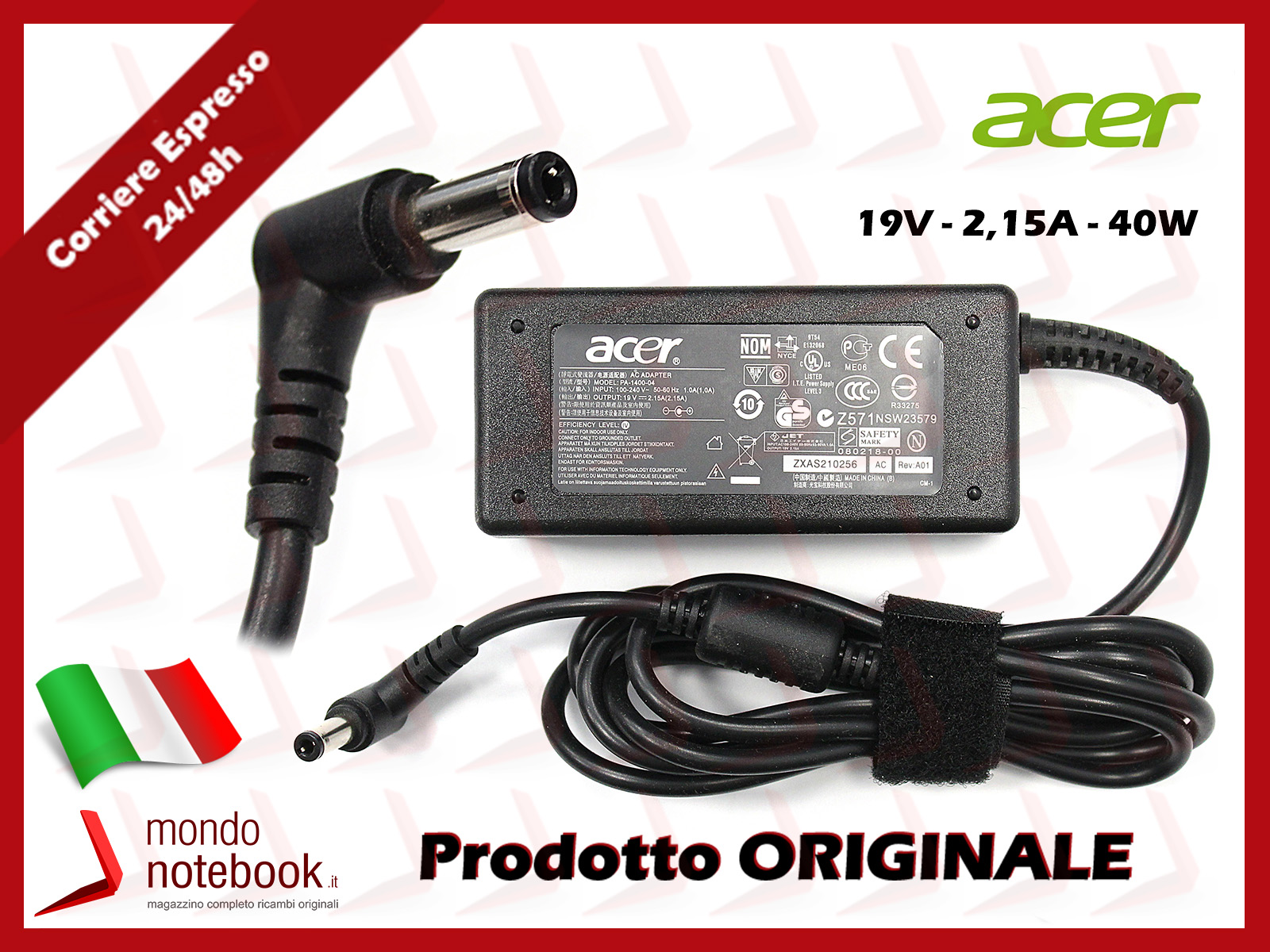 74a//90w con spina Aspire e5-575g ORIGINALE Acer Alimentatore//Caricatore 19v//4
